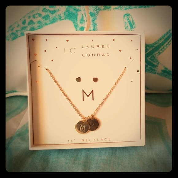 """LC Lauren Conrad """"M"""" Necklace and Earring Set"""
